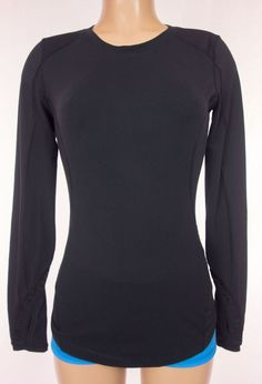 LULULEMON Long Sleeve Run Shirt Size 6 S Black Ruffle Sleeve Base Layer Top Rare #Lululemon #ShirtsTops