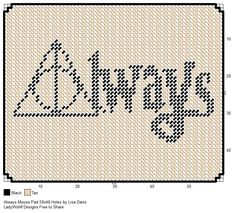 Always Harry Potter Mouse Pad Cross Stitch Harry Potter, Harry Potter Bookmark, Harry Potter Crochet, Harry Potter Quilt, Plastic Canvas Crafts, Plastic Canvas Patterns, Cross Stitching, Cross Stitch Embroidery, Wedding Cross Stitch Patterns