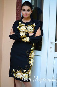 Купить или заказать вышивка лентами в интернет-магазине на Ярмарке  Мастеров. платье из костюмной cac139e52405a