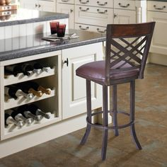 "Armen Living Tahiti 26"""" Barstool in Auburn Bay finish with Brown Pu upholstery"