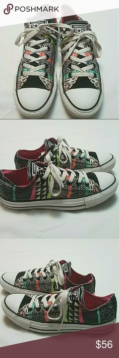 Converse Sneakers Rare Tribal Aztec Colorful Sz 9 These tribal Aztec print low top Converse sneakers are in great shape but they need some TLC and have a few signs of wear like letter fading,  creasing in the back and they could also use a good cleaning.  My home is smoke-free and pet-free.  Check out the other items in my closet to bundle two or more items for a great bundle discount.  I consider all offers.  Happy Poshing! Converse Shoes Sneakers