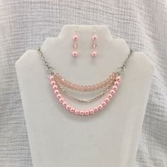 Pink Multi Strand Necklace - Pink Jewelry Set - Oink Necklace Earring Set Jewelry On Etsy Pink Jewelry, Jewelry Sets, Unique Jewelry, Jewelry Design, Jewelry Making, Jewelry Bracelets, Pink Necklace, Beaded Necklace, Diy Collier