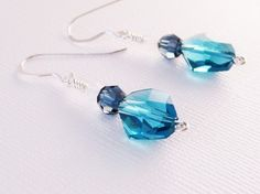 Indicolite Cosmic Crystal Earrings by SparklngCreations on Etsy, $18.00