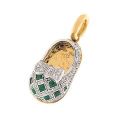 Aaron Basha Baby Shoe 18-Karat Yellow Gold Diamond & Emerald Shoe Charm