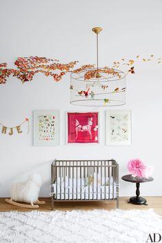 Butterflies in Girl Nursery // Architectural Digest, Jenni Kayne Nursery Room, Kids Bedroom, Baby Room, Nursery Decor, Nursery Ideas, Kids Rooms, Bedroom Ideas, Child's Room, Girl Nursery