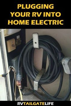 Guide to plugging your RV into your home electrical system. Keep RV batteries charged between trips! Rv Camping Tips, Travel Trailer Camping, Travel Trailers, Rv Travel, Camping Ideas, Camping Products, Outdoor Camping, Travel Tips, Rv Camping Checklist
