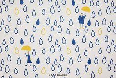 "Rain drop fabric, Rain drop pattern, 45""x35"", Cotton Linen fabric, Colorful…"