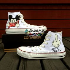 Custom Lovely Mouse Kids White High Top Pure Hand Painted Converse Canvas Sneaker Fashion Shoes Gift for Men Women