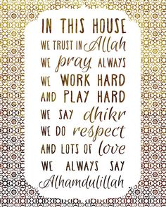 Items op Etsy die op In This House We Trust In Allah, We Pray Always, We Say Alhamdulillah Allah Quotes, Muslim Quotes, Quran Quotes, Beautiful Islamic Quotes, Islamic Inspirational Quotes, Islamic Qoutes, Islamic Teachings, Inspiring Quotes, Alhamdulillah