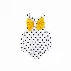 Baby Girls Yellow Bow Polkadot Romper
