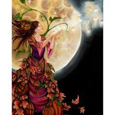 #autumn women #pumpkins #full moon #faeries