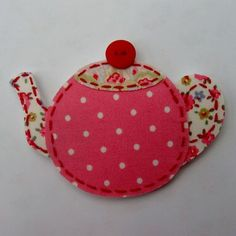 """Fridge Magnet ..TEAPOT Measuring 10cm approx in width at widest part and approx 7.5cm in depth.  made with felt & Cath Kidston """"Mini Dot Pink, Paisley Pink and Tiny Rose"""" fabric, hand-stitched detailing with a cute little button on the lid of the teapot"""