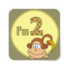 Shop I am 1 Cute Monkey With Banana Square Stickers created by goodmoments. Cute Monkey, Make Your Own, How To Make, White Envelopes, Custom Invitations, Backdrops, Banana, Shapes, Stickers