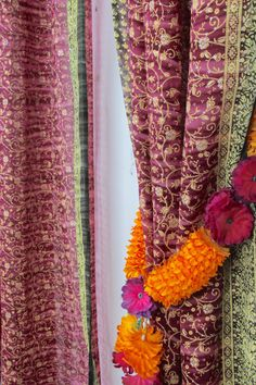 NOW ON SALE To experience our design vision to the fullest, please visit our collection of home decor and accessories at our second Etsy store: https://www.etsy.com/shop/PadminiBoutique?ref=hdr_shop_menu Full Length Sari in Violet Purple and green border Our vibrant color palette and our signature line of 'Maharani (queen) Sari Curtain inject color to a space and make a beautiful statement. It is semi-sheer Georgette fabric that filters soft light and enhance natural...