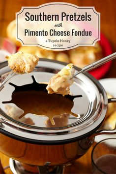 Fondue the #Southern way: Pimento cheese and homemade pretzels, of course! Get the #recipe from our cookbooks here.