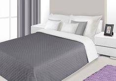 Narzuty dwustronne na łóżko w kolorze stalowo białym