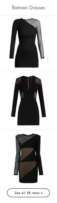 """Balmain Dresses"" by hallierosedale ❤ liked on Polyvore featuring dresses, vestido, black, ruched dress, balmain dress, mesh jersey, mini dress, ruching dress, robe and sleeved dresses"