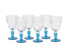 Set di 6 calici in vetro Casablanca blu - h 16 cm