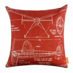 4545Cm Red Retro Plane Aircraft Draft Linen Cushion Cover Pillowcase Home Decor