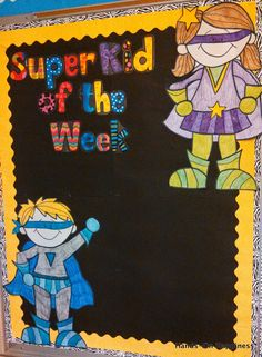 ~ and a Super Hero freebie! Could also be for SuperKid of the Day-leader First Grade Classroom, New Classroom, Kindergarten Classroom, Classroom Themes, Superhero Classroom Door, Superhero Room, Superhero School Theme, School Themes, Beginning Of The School Year