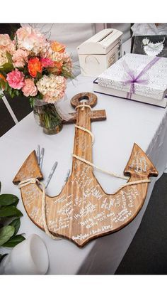 wood anchor guest book   A great alternative for that beach wedding. This can be displayed all year round.
