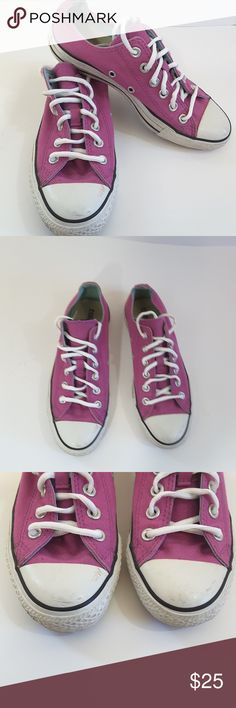 Converse all star ox shoes Converse all star ox fusia color low top shoes. In very loved condition. Still have lots of life in them. Peaking slightly around bottom edge. Converse Shoes Sneakers