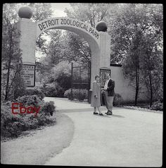 Old Vintage Negative-Photo- Detroit Zoo Entrance- 1940 State Of Michigan, Detroit Michigan, Old Photos, Vintage Photos, Detroit Zoo, Kickin It Old School, Detroit History, Cultural Events, Art Poses