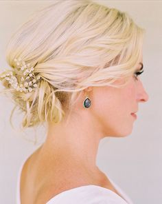 wedding hair loose curled updo with jeweled accessory