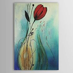Hand-painted Read Flower Abstract Oil Painting on Canvas Wall Art Modern Oil Painting, Oil Painting Flowers, Oil Painting Abstract, Modern Paintings, Flower Paintings, Oil Paintings, Abstract Portrait, Flower Art, Art Flowers