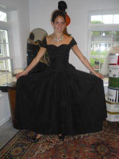 Fabulous 1940s Vintage Black Gown Dress in Black by badgirlvintage, $200.00