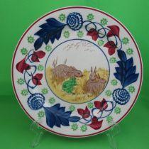 Antique Staffordshire Stick-Spatter, Rabbit & Frog Plate #1