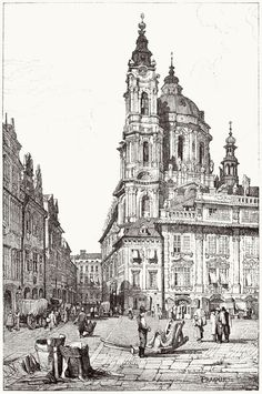 oldbookillustrations: Prague, St. Nicholas. Samuel Prout, from Sketches by Samuel Prout, by Charles Holme, London, 1915. (Source: archive.org):