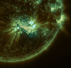 On Oct. 24, 2014, NASA's SDO observed an X-class solar flare erupt from a Jupiter-sized sunspot group. (Credits: Tahar Amari et al./Center for Theoretical Physics/École Polytechnique/NASA Goddard/Joy Ng)