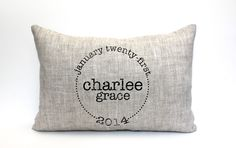 """baby gift, baby pillow, child's name pillow, personalized pillow, birthday pillow, christmas gift- """"The Charlee"""" by CoverLove on Etsy https://www.etsy.com/listing/165267946/baby-gift-baby-pillow-childs-name-pillow"""