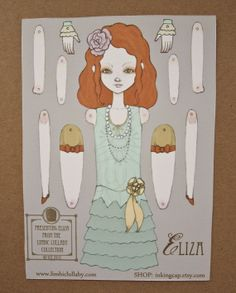 Little Eliza Jointed Movable Paper Doll by inkingcap on Etsy, $12.00