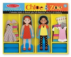 Chloe & Zoe Magnetic Dress Up Dolls! Two Wooden Dolls with Stands and 64 Magnetic Accessories! Ships FREE to CT, MA & RI!