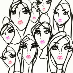 So many pretty faces with bright pink lip color in this fashion illustration by Blair Breitenstein. #fashionillustration
