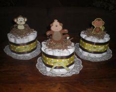 Girl Safari Jungle and Monkey Diaper Cakes Baby Shower