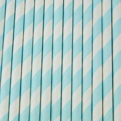 Retro Style Striped Drinking Straws- Baby Blue, Pack of (12)