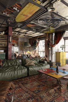 Eclectic and Rustic Loft Style Living Room Space