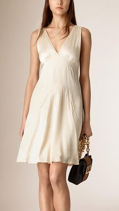 Branco Vestido de seda sem mangas - Imagem 1