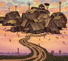 Polish Bonsai - (Jacek Yerka) #surrealism #art #painting #yerka #cottage #road #fly #symbolism