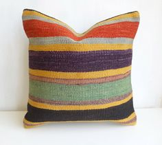 Colorful Kilim Pillow Cover with Stripes