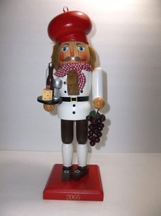 Wooden FRENCH WAITER NUTCRACKER Wine CHEESE Grapes LE 14""