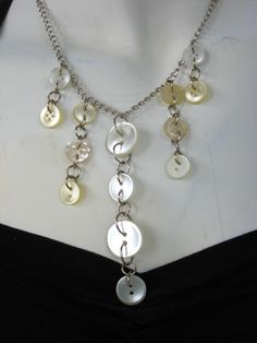 BUTTONS JEWELRY button nacklace   pearl white buttons  by pupinka, $30.00 love it! must try! #ecrafty