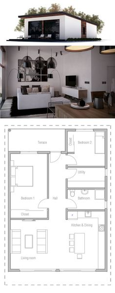 Make the entrance from the living room, push back bedroom 1. Move utility to the space where bedroom 1 once occupied and move bedroom 2 up