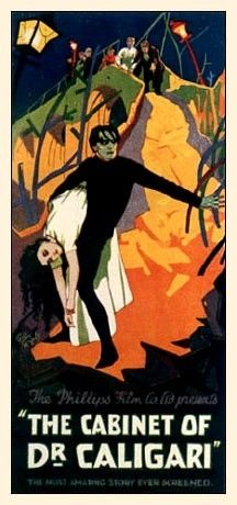 Robert Wiene - 'The Cabinet Of Dr Caligari' - German Expressionist horror film Horror Movie Posters, Best Movie Posters, Classic Movie Posters, Classic Horror Movies, Cinema Posters, Classic Films, Dr Caligari, Silent Horror, Silent Film