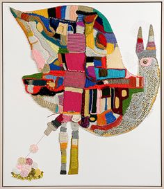 """'I am Your Exotic Bird' 2012 from patternbank - """"...Australian artist Tracy Potts, she mixes crochet, knitting, sewing and paint onto canvas in a completely captivating and eccentric way."""""""