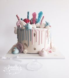 Pink And Blue Baby Shower Drip Cake. By Jenelleu0027s Custom Cakes.