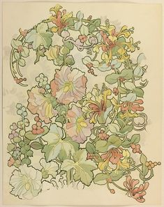 Alphonse Maria Mucha, drawing for textile design, Petunias, Honeysuckle and Berries, 1897-98. Brush and Watercolor. For Carl Gustave Forrer,...